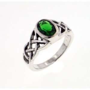 Celtic Irish KNOT Green CZ Ring size 7(Sizes 5,6,7,8,9) Jewelry