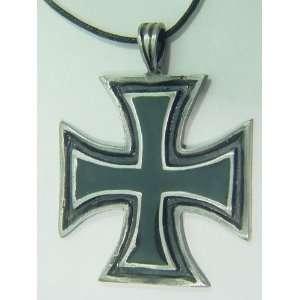 German Iron Cross Pewter Pendant Necklace
