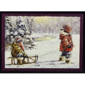 Childhood Winters Holiday Christmas Cards, 16 Cards with Coordinating