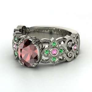 Red Garnet 14K White Gold Ring with Pink Sapphire & Emerald Jewelry