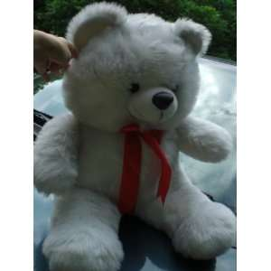 34 Tall Jumbo Plush White Teddy Bear with Red Ribbion Toy