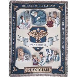 Medical Doctor Physician Pictorial Afghan Throw Tapestry
