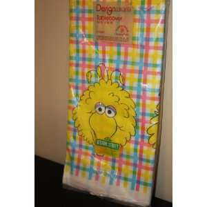 Vintage Big Bird Sesame Street thick paper table cover size 54 x96