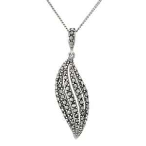 Silver Marcasite Open Work Leaf Pendant Necklace, 18 Jewelry