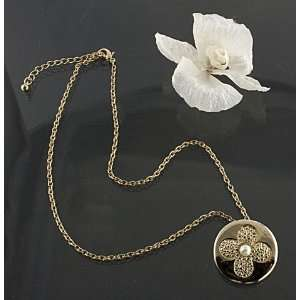 Necklace Of Gold Tone With Clover Leaf Design On Pendant