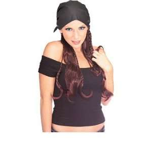 Pirate Female Wig With Black Leather Cap Toys & Games