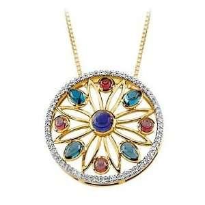 , Mozambique Garnet, London Blue Topaz and Diamond Pendant Jewelry