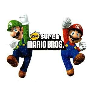 Super Mario Bros Luigi & Mario jumping up glitter Heat
