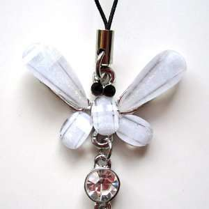 Cell Phone Mobile Camera Charm Strap Beautiful Clear Diamond Butterfly