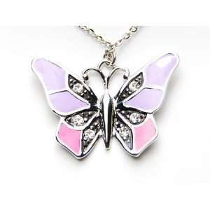 Pink Painted Crystal Rhinestone Butterfly Pendant Necklace Jewelry