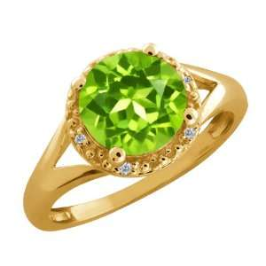 04 Ct Round Green Peridot and Diamond Gold Plated Sterling Silver