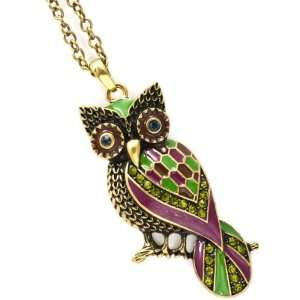 Gold Tone Multicolor Owl Crystal Necklace LNN4249BOGRN Jewelry