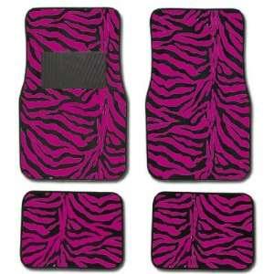 Hot Dark Pink Zebra Tiger Animal Print Car Truck SUV Front & Rear Seat
