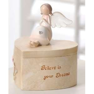 your Dreams Heart Shaped Angel Keepsake Boxes 4.13