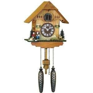 Quartz Cuckoo Clock Black forest house, couple, incl
