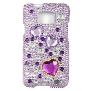 PURPLE HEARTS Hard Plastic Bling Rhinestone Case for