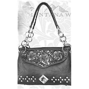 Montana West Rhinestone Western Purse   Black/Silver Rose