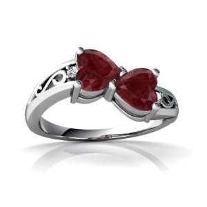 14K White Gold Heart Genuine Ruby Ring Size 4.5 Jewelry