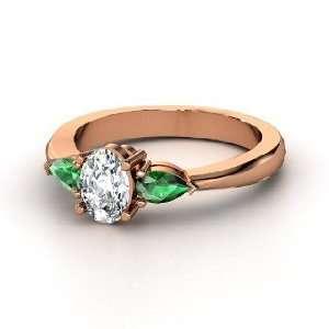 Alma Ring, Oval Diamond 14K Rose Gold Ring with Emerald Jewelry