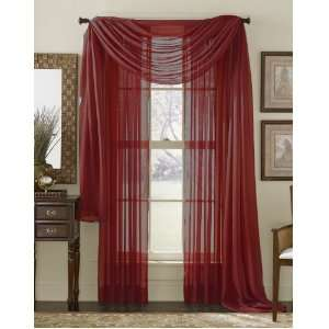 84 Long Sheer Curtain Panel   Red: Home & Kitchen