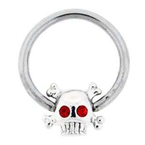 Skull with Crossbones with Red Crystal Eyes Captive Bead Ring   14g 1