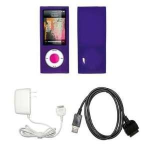 Premium Purple Soft Silicone Gel Skin Cover Case + Wall