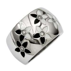 Stainless Steel Black & White Enamel Flowers w/CZ Ring Size 6 Jewelry