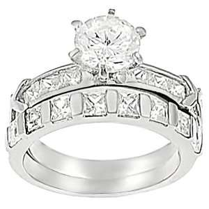 Stainless Steel Round cut Cubic Zirconia Bridal Set Ring Jewelry