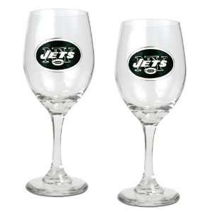 New York Jets NFL 2pc Wine Glass Set   Primary Logo