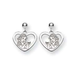 Disney Snow White Heart Dangle Post Earri in 925 Sterling Silver