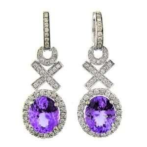 5.70 CT WHITE GOLD TANZANITE & DIAMOND EARRINGS 14 KT Jewelry