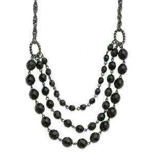 plated Faceted Jet Bead 3 Strand Bib 15 Inch with Extension Necklace