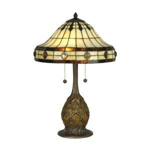 TT90432 Tiffany Table Lamp, Antique Bronze/Verde and Art Glass Shade