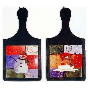 Ceramic & Wood Snowman Trivets   Set of 2 Kitchen & Dining
