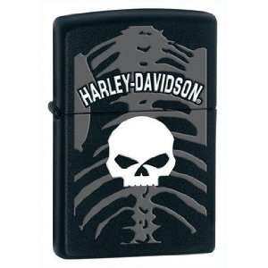 Harley Davidson Skeleton Zippo Lighter, Black Matte