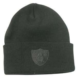 Oakland Raiders Tonal Logo Cuffed Winter Knit Hat   Black