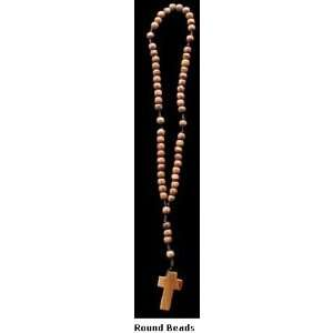 Rosary ~ Round Olive Wood Beads Rosary with Cross: Sports