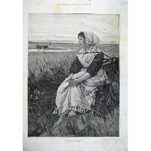 Smythe Fine Art Young Girl Waiting Boats Sea Home & Kitchen