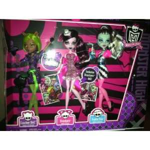 Dance Action Figure Doll 3Pack Clawdeen Wolf, Draculaura Frankie Stein