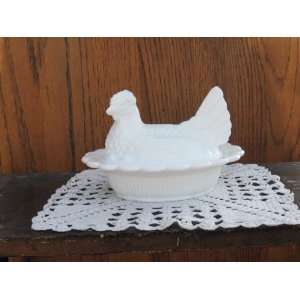 6 Hen on Lacy Nest 2 Piece Covered Dish White Milk Glass
