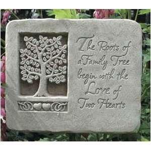 Love Family Tree, Hearts Plaque   Concrete Sculpture