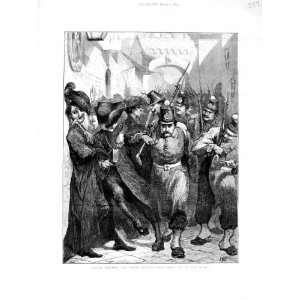 1872 Italy Soldiers Roman Priests Street Scene Print