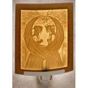 Sisters   Fairy   Curved Porcelain Lithophane Night Light   Art By Amy