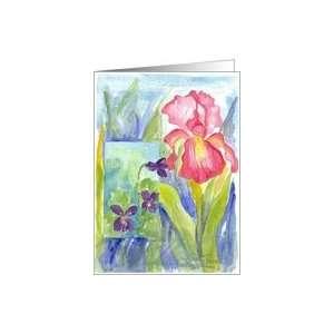 Pink Iris Purple Violets Blank Note Card Card Health
