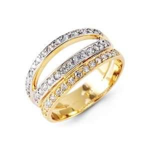 Triple Row CZ Band 14k Yellow White Gold Fashion Ring Jewelry