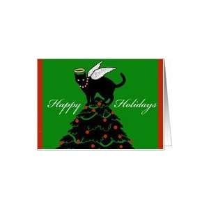 Happy Holidays, Cat Angel Topper Card: Health & Personal