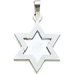 14K White Gold Star of David Pendant Jewelry