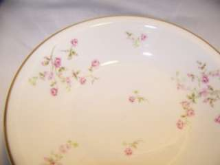 antique Haviland limoges china,small pink rambling roses  4 soup bowls