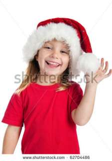 Cute Little Girl In The Santa Claus Hat Stock Photo 62704486