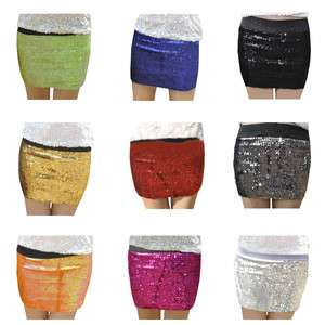 New Womens Sexy Trendy Shiny Sequin tretch Mini Evening Party Short